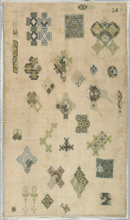 Spot sampler embroidered in blues, greens, yellows, gold and silver on a linen ground.  Geometric designs in rococo work, deflected element work, plaited braid stitch, chain stitch, running stitch, couching and detached needle looping.