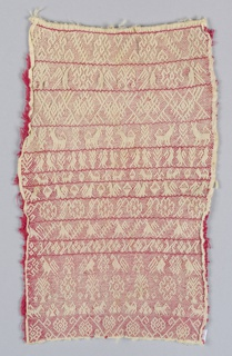 Tightly-worked smocking with eleven bands of pattern including animals, birds and geometric ornament in white on a red foundation fabric.