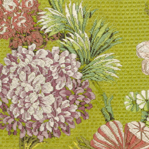 Fragment of chartreuse green silk with brocaded design of conventionalized flowers and foliage in purples, yellow, green, pink, red and white. Cut for a chair seat. Probably after a design by Pillement.