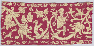 Border of red silk on white linen showing a curving vine with birds and human figures, possibly Abraham and Isaac.