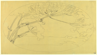 Drawing, Paysage et Fleurs (Oval Design), late 19th century