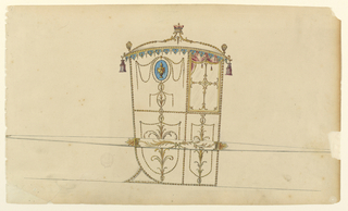 Shown in profile, turned toward right, with one bar. On top of the roof is a corner of a baron, supported by scrolls, at the ends of the garlands which line the edges of the roof starting from the corners. At these stand blossom motifs; from them hang tassels. Scallops hang from the entablature. The window is subdivided by scrolls in a cross form; garlands frame the panels and make shield forms in those below, showing leaf plants. The panel beside the window is decorated with a medallion with a vase, festoons and entwined garlands. The bar shows two crossed branches. The name is written beside at left and has been erased.