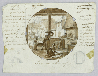 Design for a painted porcelain plate, rondel. Under a roofed outdoor kitchen, three female figures prepare fruit for baking. One woman is placing a tray of plums in a large oven, right middleground.  Another kneeling woman, center foreground, arranges trays for the oven. Two children, left middleground, carry a large basket of plums; behind them, a third woman balances a tray of fruit on her head.  In the left background, a partial view of children collecting plums under a tree, and a house. In the lower left margin, a semi-circular sketch of an oven [?]; in lower right margin, a circle with four lines forming an approximate square in the middle.