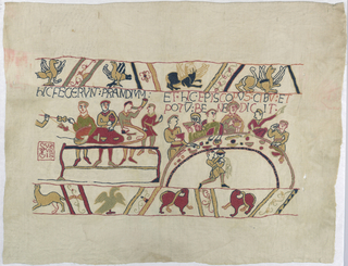 A copy of a section of the Bayeaux tapestry in multicolored crewel wool on a white ground.