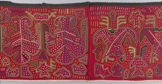Oblong panel of brilliant colored cottons, arranged in form of cut-out and applied techniques to show what appear to be highly stylized bird forms. Outlines of design are cut. Colors inserted in lines, dots, triangles, etc. Main ground color red cotton, plain blue, yellow-green, etc. and bits of figured stuffs. Stitching goes through to black lining which is allowed to show to form outlines.