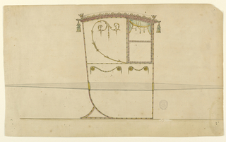 Shown in profile turned toward the right.  Above at right is a window with two panels and a curtain.  The panel beside is decorated with a scroll.  The part below forms one panel and is decorated with two garlands laid upon two disks each at the upper corner similar to 3.  At the corners of the rood are crowns and tassels.