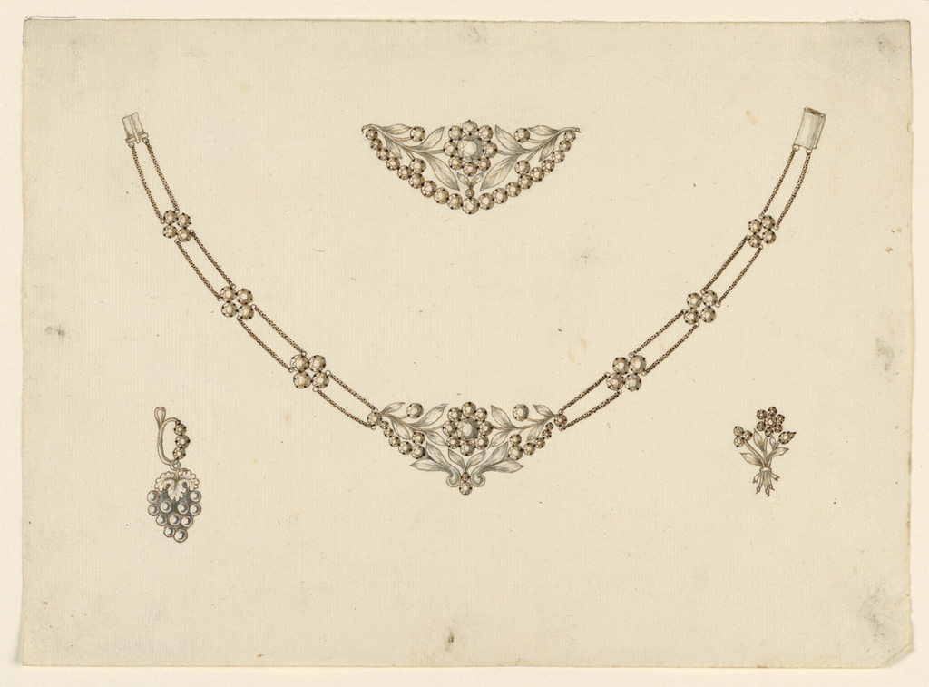Drawing, Necklace, Brooch, Earring, and Pin