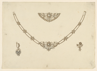 Drawing, Necklace, Brooch, Earring, and Pin, 1825–30
