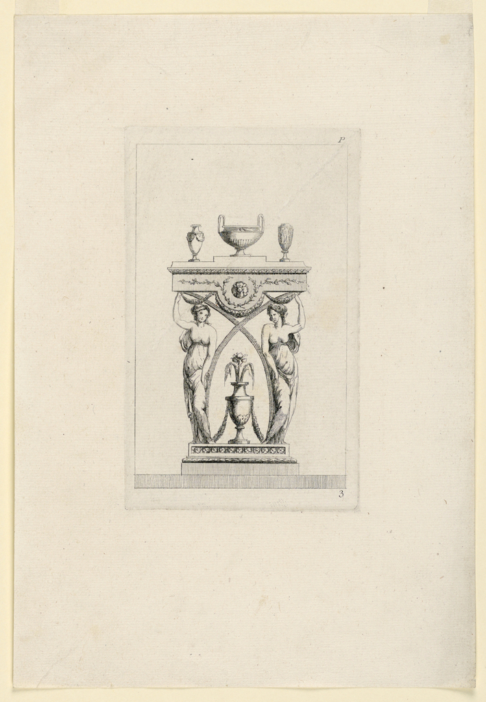 Two girls and two curved ledges support a kind of entablature, upon which a bowl and two vases stand. Framing lines.