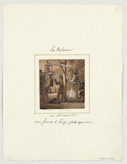 "Design for a painted porcelain plate, square format. A large scale dominates the foreground in front of a two-story house, center background. Figure of a man stands on the left balance of a scale pointing to his wife who stands on the right balance and is pulled toward the ground by a crouching man, lower right corner.  The German says, ""My wife weighs more than I do.""  A young boy stands next to the central post of the scale while two figures, left middleground, look on."