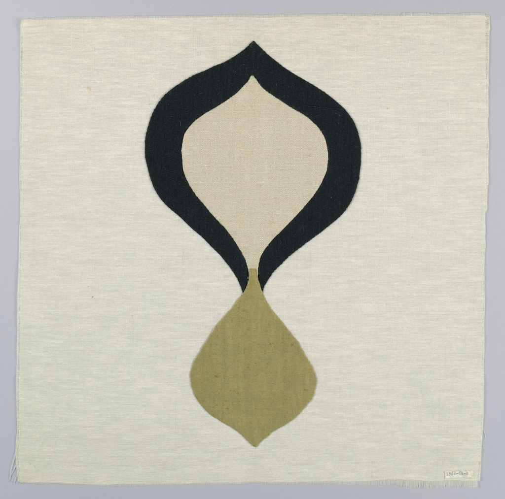 White square with an appliqué of tear shapes in black, beige and brown.