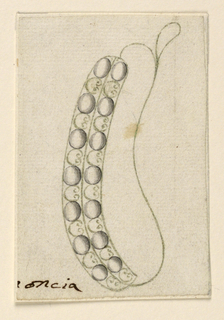 Jewelry design for an earring. Ring with a large and small slope. On the front (at left), a double row of seven diamonds connected by scrolls, shaped like the outline of a palmette.