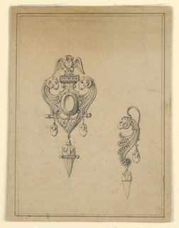Drawing, Design for a brooch with earring with ram's heads, 1870–75