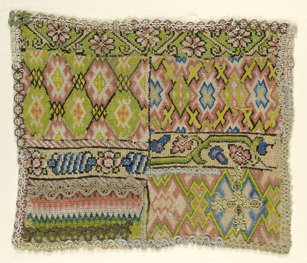 Divided into seven sections, each showing different patterns (four geometric, three floral); fragments of gimp used as edging and as ornament on the embroidery
