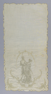 White-on-white embroidery showing a man and woman in Empire style dress framed by scrolls. Small floral basket in each corner.