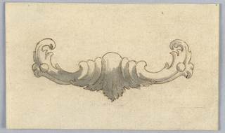 Horizontal rectangle. At center, decorative architectural detail design, possibly for the base of a cartouche.