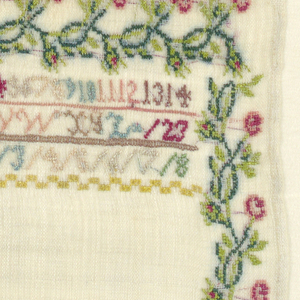 Wreath and bands of alphabets and numerals within a floral border. Probably unfinished.
