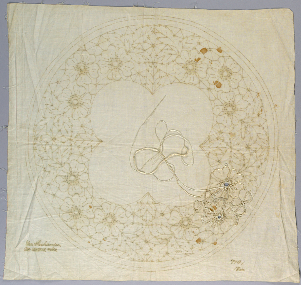 Partly worked printed pattern for embroidery. If finished result would have been a circular table center.