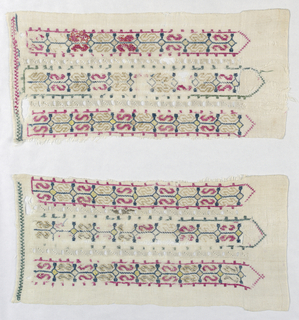 "Two fragments embroidered in bands in small-scale pattern of multi-colored silk in a repeated ""S"" design. Bands set off by a row of drawn work."