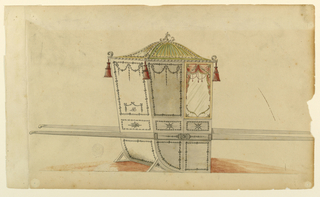 Shown from the rear right corner with two bars.  A proof with a scroll on top.  Its triangular panels are framed by garlands and decorated with rays.  Tassels hang at the corners.  The panels beside that with the window and at the back are divided in quadrangles above and in oblongs below, as one is below the window.  All compartments are framed by garlands.  Festoons hand above in the quadrangles.  In that of the back they frame the monogram A B below.  The bars are decorated in the width of the chair.