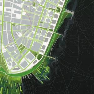 A perspective view of lower Manhattan featuring green areas of marshes and marina.