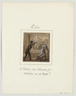 Design for a painted porcelain plate, square format. Setting in a museum.  Figure of a man in a top hat, left foreground, points to a large painting on the wall of a man holding a knife above a lion. The top-hatted man is asking two ladies, right foreground, if they want an explanation of the painting--he raises his left arm to point at it. Through a doorway, left background, museum visitors view double-hung paintings on the walls.