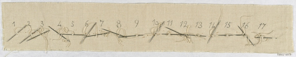 Sampler showing the seventeen steps necessary for the formation of the grape stitch, with the needles still in place.