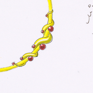 Torque style necklace design with entwined overlay of additional metal with red jewels inset.