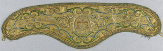 Pair of separate collars called apparels, slightly curved along top edge, with deep rounded side at bottom, to be worn over and outside a vestment. Yellow satin, embroidered in silk and metal thread. Design shows, center, in oval; a cardinal's hat above a lion rampant. Strap work frame around oval; a curving vine flows from each side, and borders of conventionalized vine edge top and bottom. Flowers and leaves worked in colored silk, in satin stitch and edged in gold cords, which are couched in colored thread. Trimmed with narrow edging formerly of heavy gold thread now tarnished, and with silver strip through center, Apparels have loops for fastening, at each end. Lined with linen.