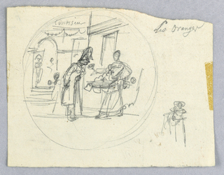 Design for a painted porcelain plate, rondel. Sketch of a confectioner's shop.  Figure of a woman, center right, appears to be holding a basket of candy.  A figure to her left gazes at the candy.