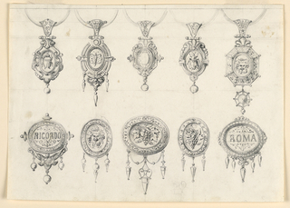 Drawing, Designs for five pendants and five brooches, 1850–75