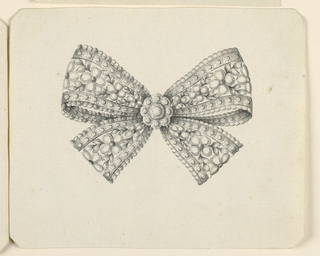Jewelry design for a brooch. A knot of laced ribbon, à jour. In the center, a rosette. The inside of the ribbon with blossoms and leaves. Beveled corners.