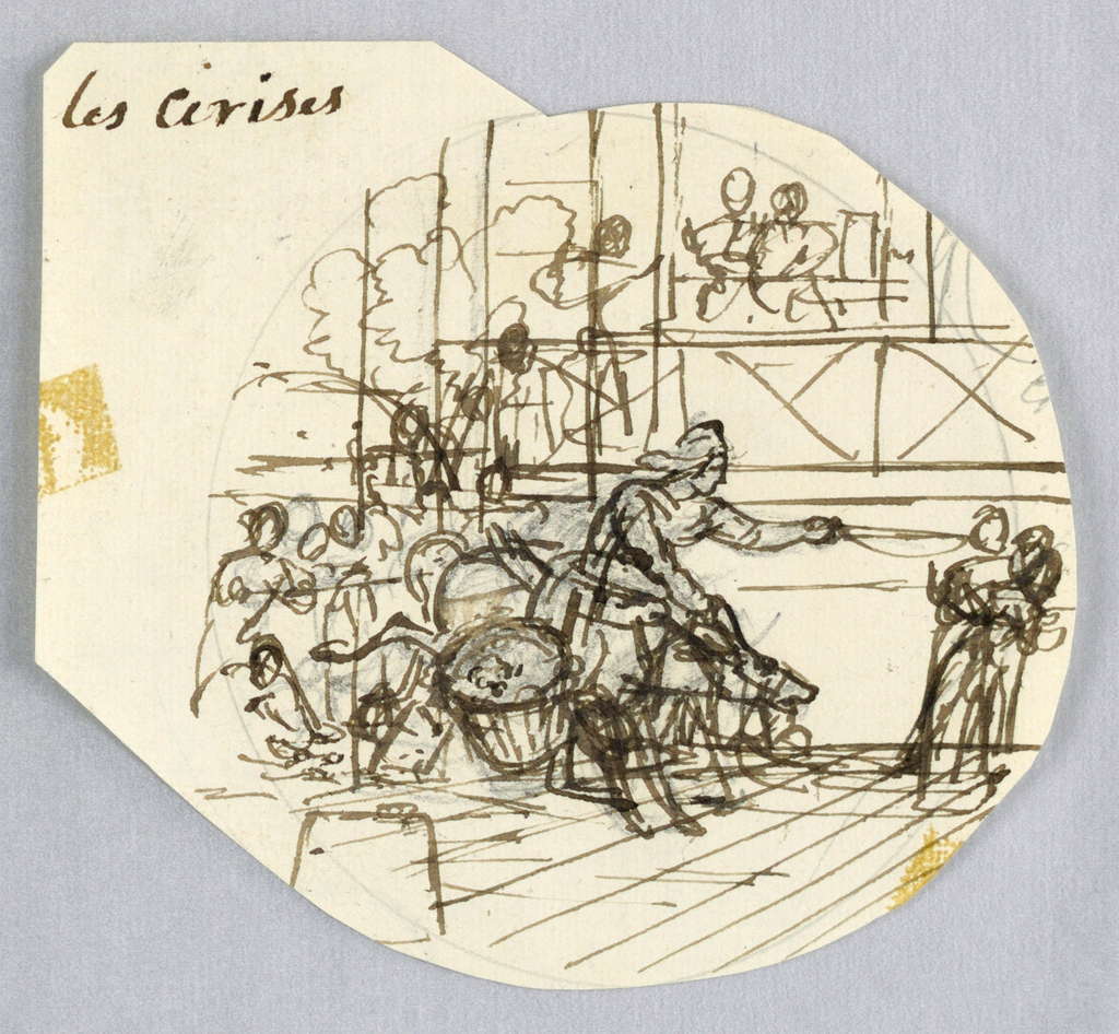 Design for a painted porcelain plate, irregular rondel. Rough drawing showing figure of a woman, center middleground, with a large basket of cherries [presumably] to her right.  Many figures complete the scene.  On a balcony, two figures seated at a table, right background.  Verso: rough graphite sketch of figures and landscape [unreadable].