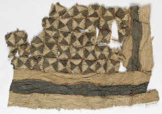 Fragment of bark cloth with a center field of alternating black and natural triangles, with borders on two sides of natural color with a single black stripe in the center.