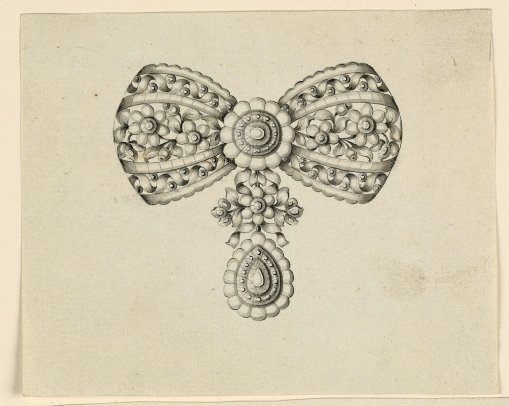 Jewelry design for a brooch in the form of a bow. Above a knot of à jour work with a central rosette. The hanging ends are fastened by a blossom in the center of stems; below a drop.