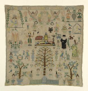 Biblical scenes, castle with stork, animals, flowers, etc.