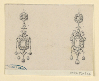 Drawing, Design for two earrings, 1860–80