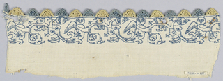 "White linen with border design of cherubim holding a large rinceau in blue silk. Tiny pointed edge of blue and yellow linen ""punto in aria."""