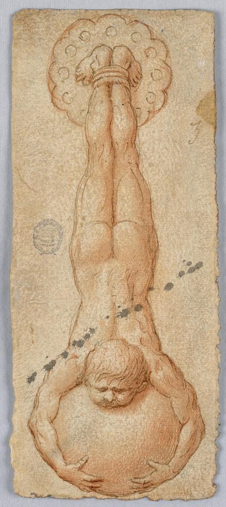 A male figure hung upside down clutching a sphere.
