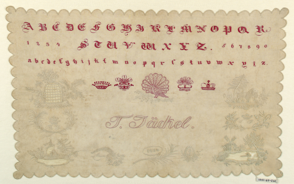 Alphabets, numerals, four crowns and a peacock in red; poodle with a basket, birdcage, lake with a boat, lake with a windmill, ornaments with names and date.