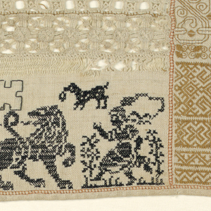 Long horizontal sampler with geometric pattern bands arranged in three columns. The left column has a lion and a male figure worked in black with withdrawn element work above. The center column is worked entirely in beige, the right column is worked in beige and orange threads.