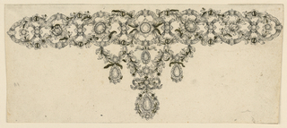 Jewelry design for a necklace made up of an ornamented chain with hanging pendants at center. The chain consists of interlaced oval escutcheons of ribbons and wreaths, connected by blossoms in the center of the escutcheons. Hanging is a tripartite garland, with drops hanging at the sides and a large one in the center, hanging from a knot.