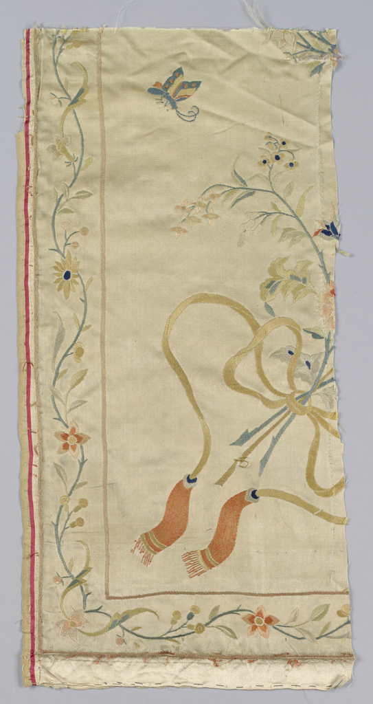 Fragment of the outer border with flowers, vines and ribbons.