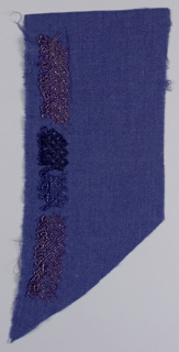 Purple fabric embroidered with a band in a diaper pattern with hanging loops of beads. Pattern worked in purple, blue and black seed beads and purple rhinestones.