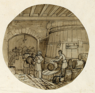 Design for a painted porcelain plate, probably for the Service Agronomique. Scene in a wine cellar.  A man, right foreground, appears to be filling a barrel from a large vat of wine in the right middleground.  He then passes the barrel along to workers who store the barrels in a connecting room viewed through a door in the right background.