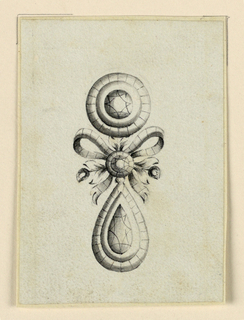 Jewelry design for an earring. The disk above and the drop below are connected by a knotted ribbon with two flower stems at either side and a round gem at center.