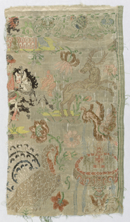 "Figured cream-colored silk brocaded in colored silks and chenille. In component ""a"" the design shows a hunter, ship, bird on flowers, and a lion. For component ""b"" the design in incomplete and shows a stag, peacock, flowers, and a fountain."