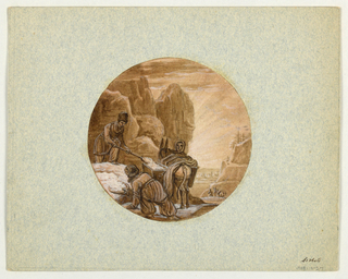 Design for a painted porcelain plate or serving vessel, rondel. Scene in mountains of Central Asia.  A man, left center foreground, shovels ice into a bucket which is suspended from the back of a donkey held by a woman attendant.  Another man in a crouching position, left foreground, gathers a tray of ice with his right hand. Two people lead a donkey down the mountain side, right middleground.