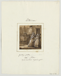 Design for a painted porcelain plate, square format. Scene in front of a stone barn.  Figure of a woman with raised hands, center foreground, shields two young girls from two bulls, left middleground, who appear to be tethered to the stone structure.  A bucket and herding stick lies on the ground, center middleground.