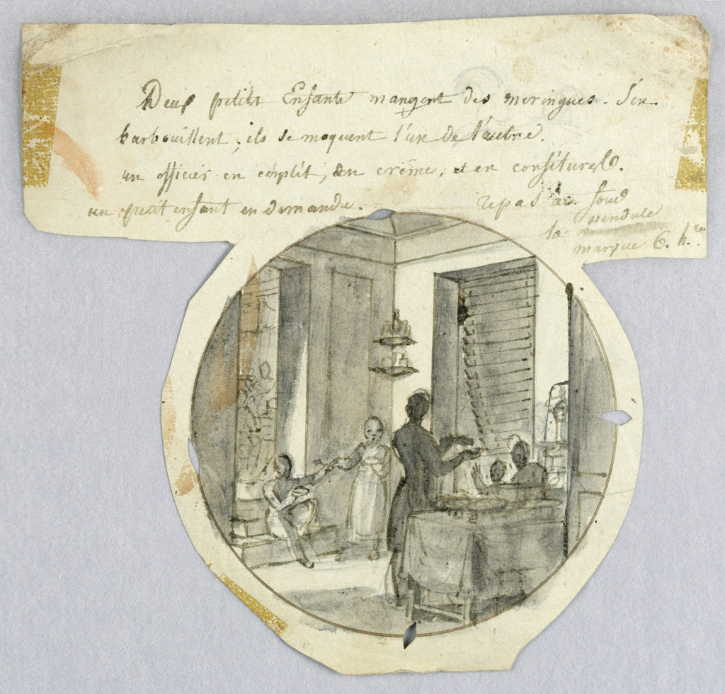 Design for a painted porcelain plate, rondel. Kitchen/pantry scene. Figure of a woman/man viewed from behind offers a meringue to a child seated at a table, right foreground.  Two children, one of whom is seated on a step in the left middleground, the other stands to the right, are eating meringues and teasing each other.  Another room, filled with figures, is visible through a door at the left, perhaps indicating a restaurant setting.  A stairway to an upper floor is visible through a doorway at right of center.